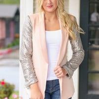 Blush Sequin Sleeve Blazer