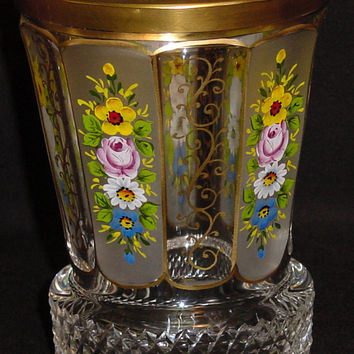 629053 Crystal Glass With 10 Cut Flat Panels, 5 Each Satin With Painted Flowers Plain with Fancy Gold Decoration, Gold Lines Around Cuts-Rim, Diagonal Base