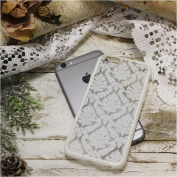 DAMASK lace cell phone cover for iphone 6 - white