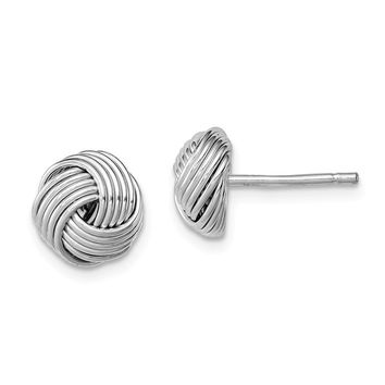 925 Sterling Silver Rhodium-plated Polished Twisted Knot Bead Post Earrings