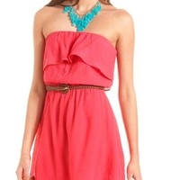 Belted Ruffle Bust Tube Dress: Charlotte Russe
