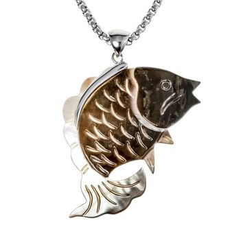 SHIPS FROM USA Natural sea shell fish necklace pendant W stainless steel chain summer jewelry birthday gifts for women her wife girlfriend