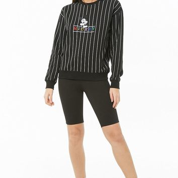 Fleece Pinstriped Mickey Mouse Sweatshirt