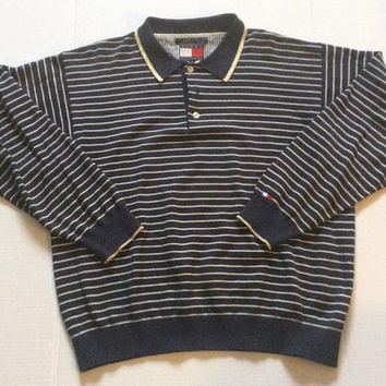 Vintage Tommy Hilfiger Men's Polo Rugby Long Sleeve Collared Shirt Sz XL Blue Striped 90s