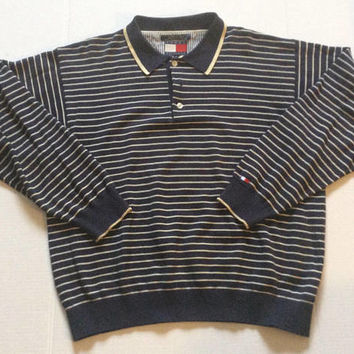 399612f5 Vintage Tommy Hilfiger Men's Polo Rugby Long Sleeve Collared Shirt Sz XL  Blue Striped 90s