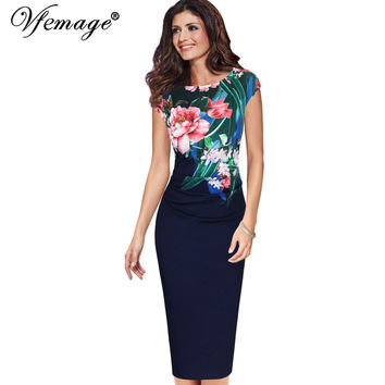 Vfemage Womens Elegant Vintage Floral Flower Printed Retro Ruched Pinup Casual Party Sheath Special Occasion Bodycon Dress 3890