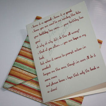 Belated Birthday Greeting Card, Happy Birthday Card, Late Birthday Poem, Funny, Handmade
