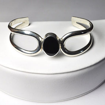 Vintage TAXCO 925 Silver Black Onyx Cuff Bracelet, Mexico Sterling Cuff, Modernist, Excellent!  #A9227