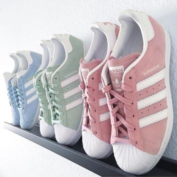 adidas Originals Superstar Pink/Mint Green Fashion Shell-toe Series Flats Sneakers Spo