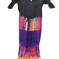 Womens Summer Dress Tie- Dye Colorful Embroidered Lace Work Beach Cover Up Sundress