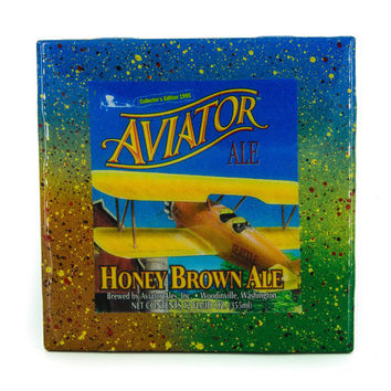 Aviator Honey Brown Ale - Handmade Recycled Tile Coaster