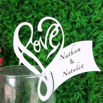50pcs Wedding Invitation Card Favor Glasses Hollow Heart-shaped Rainbow Table Name Card Decor (Color: White) [7983357319]