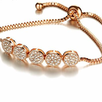 Adjustable Crystal Studded Multi Circle Charm Silver + Rose Gold Bracelet