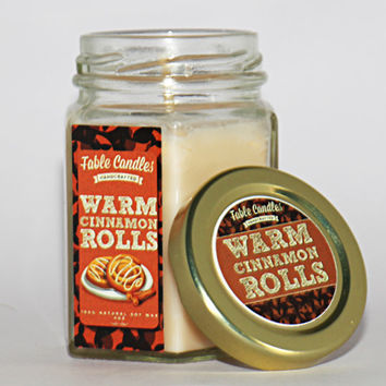Cinnamon Rolls Scented Handmade Candle   4oz Soy Wax Cinnamon Scented Candle in Hexagonal Glass Jar, Made By Hand with Cotton Wick