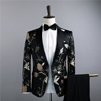 2018 Men Classic Wedding Suits Golden Flower Embroidery Prom Party Tuxedo Latest Coat+Pant Designs Gentlemen Fitness Blazer