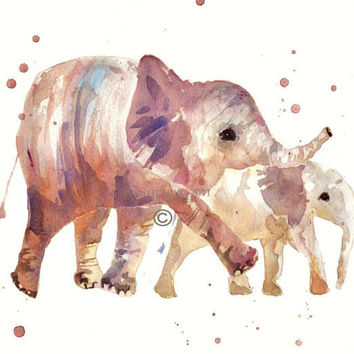 Nursery Elephant Print  Proud Mom and Baby by eastwitching on Etsy