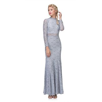 Long Sleeve Lace Full Length Dress Silver Mock 2 Piece High Neck