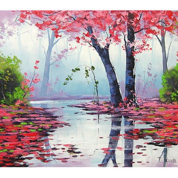 MISTY PINK PAINTING trees river impressionist landscape original art oil Graham gercken