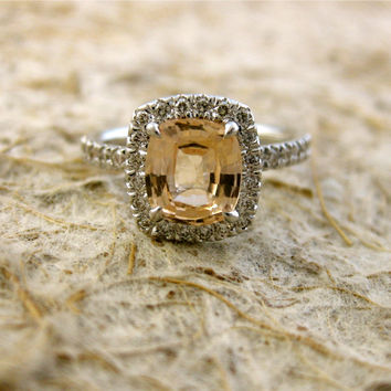 Handmade Cushion Cut Pastel Peach Champagne Sapphire Engagement Ring with Diamonds in 14K or 18K White Gold - For AMANDA - Deposit