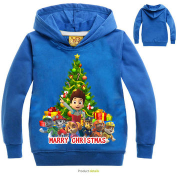 Children Hoodie T-Shirt Baby Boys Girls Pwa patro T Shirt Kids Student Cotton Tops Sports Casual Tees Christmas Sweater