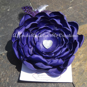 Deep Purple Satin Hair Flower or Brooch Pin with Purple & White Feather Spray and White Heart Gem Accent