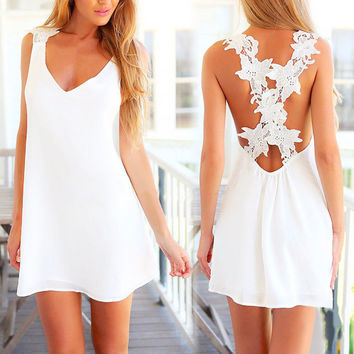 New New Womens Elegent Sexy Mini Lace White Dress Without Sleeve backless Beach Sun Dress Hot