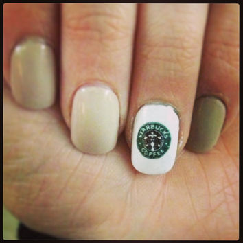 Starbucks Logo Nail DecalS by PaipurNails on Etsy