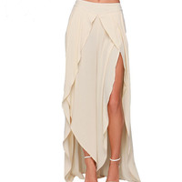 Women Skirts Summer Style Chiffon Long Skirt Fashion White Asymmetrical Skirt Jupe Femme Faldas Largas