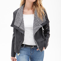LOVE 21 Faux Leather & Tweed Jacket Black/Ivory