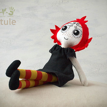 Unique Handmade Rag Doll with black dress