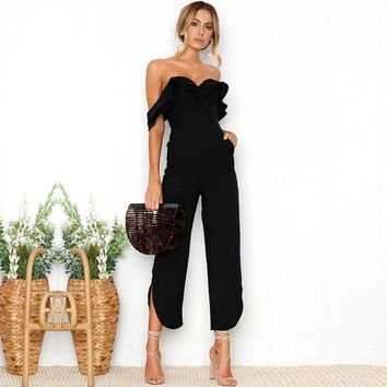 Fashion Sexy Off Shoulder Backless Women Jumpsuits Elegant Female Jumpsuits Casual Women Wrapped Chest Strap Long Rompers FLD779