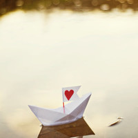 Fine Art Photography - red love heart valentines day The Love Boat 8x10 original photo print wall art paper boat