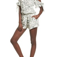 Mimi Chica Tie Sleeve Cold Shoulder Romper | Nordstrom