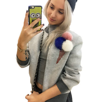 Jacket Women Basic Coats Zipper  Colorful Plush Ball Fashion Autumn  Baseball Coat Ice Cream Puffer