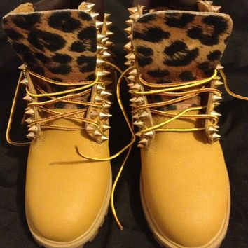 Spiked & Leopard Timberlands