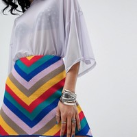 Rokoko Mini A Line Knitted Skirt In Rainbow Stripe at asos.com