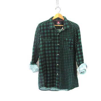 Vintage green and black checker Flannel / Grunge Shirt / cotton snap up shirt / L