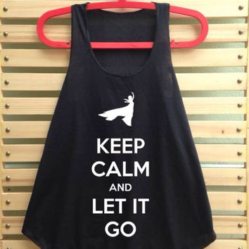 Black frozen shirt elsa princess queen keep calm and let it go shirt tank top clothing vest tee tunic singlet women shirt - size S M