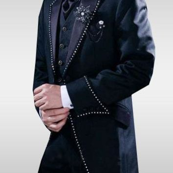 High Quality Groom Tuxedos Groomsmen Mens Wedding Suits Prom Bridegroom (Jacket+Pants+Vest+Tie) NO:888