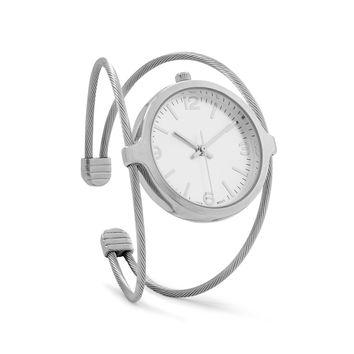 Silver Tone Cable Cuff Watch