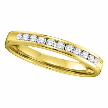 14kt Yellow Gold Women's Round Channel-set Diamond Single Row Wedding Band 1-4 Cttw - FREE Shipping (US/CAN)