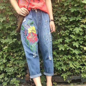 Plus size  loose jeans female ankle length trousers summer hole colored drawing paint  harem pants