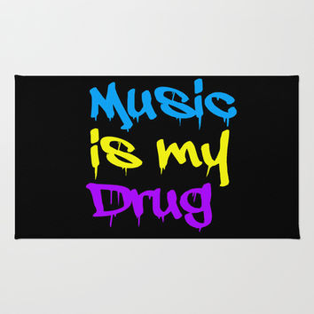 Music Is My Drug Blue, Yello and Purple Area & Throw Rug by Poppo Inc. | Society6