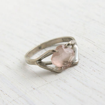 Vintage Sterling Silver Pink Stone Ring - Claw Set 1960s Size 6 Glass Faceted Jewelry / Maker's Mark B