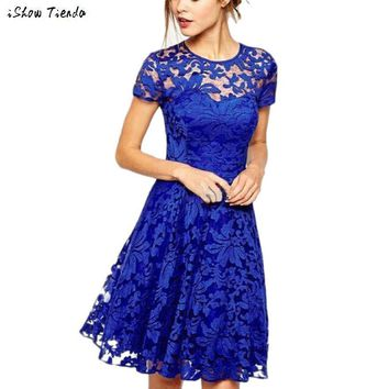 Tunic Dresses Women Floral Lace Sexy Women dress Casual O-Neck Party Dress Vestidos Modernos #2415