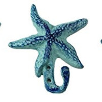 Starfish Cast Iron Wall Hooks Antique Blue - Set of 3 for Coats, Aprons, Hats, Towels, Pot Holders, More
