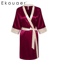Ekouaer Bride Bridesmaid Robe Sleepwear Sexy Lace Satin Night Robes Fashion Women Bath Robe Dressing Gown with Waistband