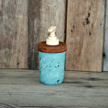 Mason Jar Soap Dispenser - Annie Sloan Chalk Paint Provence - Rustic, Country, Shabby Chic, Farmhouse, Vintage Style
