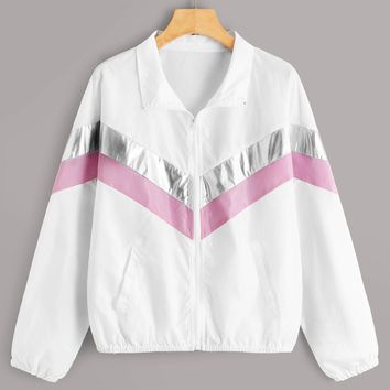Chevron Color-block Zip Up Windbreaker Jacket
