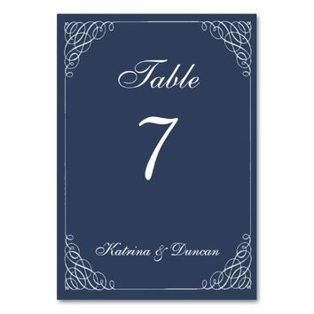 Elegant Swirl Navy Blue Personalized Table Card